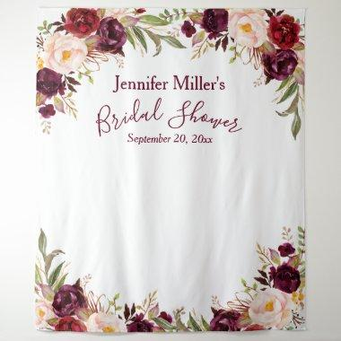 Burgundy Floral Custom Bridal Shower Photo Booth Tapestry