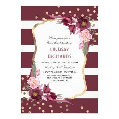 Burgundy Floral Gold Confetti Chic