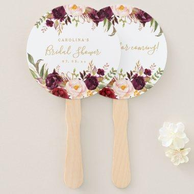 Burgundy Floral Gold Script Bridal Shower Hand Fan