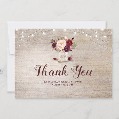 Burgundy Floral Mason Jar Bridal Shower Thank You