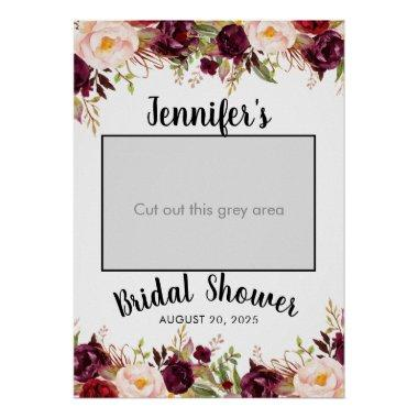 Burgundy Floral Name Bridal Shower Photo Prop Poster