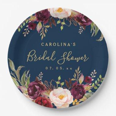 Burgundy Floral Navy Blue Rustic Bridal Shower Paper Plate