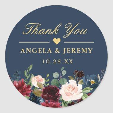 Burgundy Floral Navy Blue Thank You Wedding Favor Classic Round Sticker