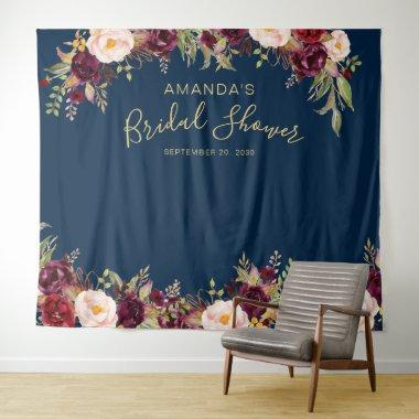 Burgundy Floral Navy Bridal Shower Photo Booth Tapestry