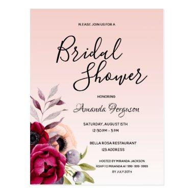 Burgundy floral rose gold bridal shower invitation postInvitations