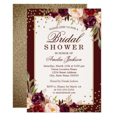 Burgundy floral Sparkle Bridal Shower Invitations