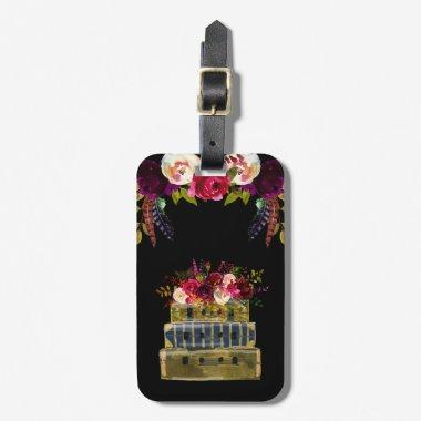 Burgundy Floral Stack of suitcases Luggage Tag