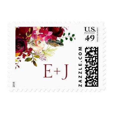 Burgundy floral wedding initials postage 3979
