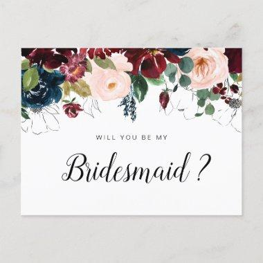 burgundy floral will you be my Bridesmaid Invitations