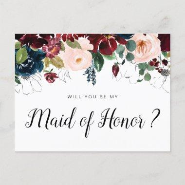 burgundy floral will you be my Maid of Honor Invitations