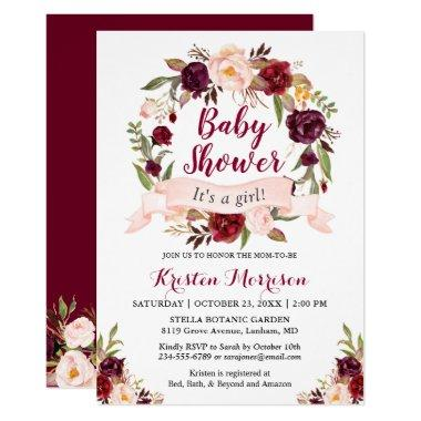 Burgundy Floral Wreath Blush Ribbon Baby Shower Invitations