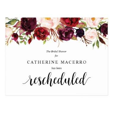Burgundy Florals, Black, Bridal Shower Postponed PostInvitations
