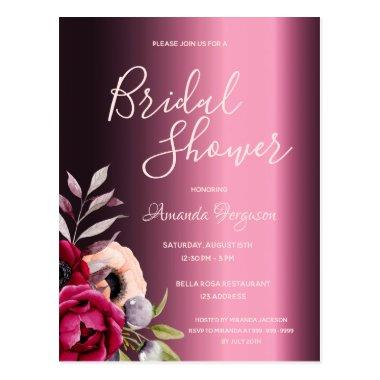 Burgundy florals metallic bridal shower invitation postInvitations