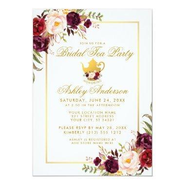 Burgundy Gold  Tea Party Invite
