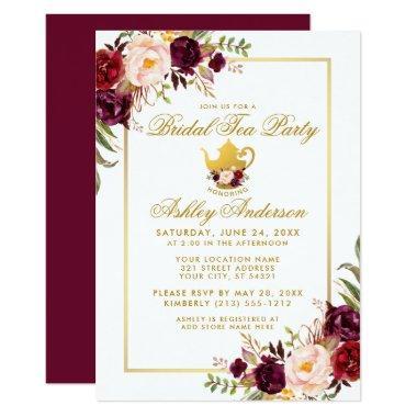 Burgundy Gold  Tea Party Invite B