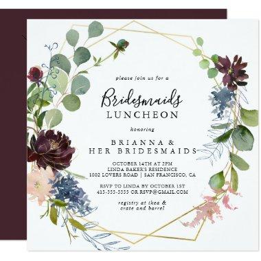 Burgundy Gold Bridesmaids Luncheon Shower Invitations