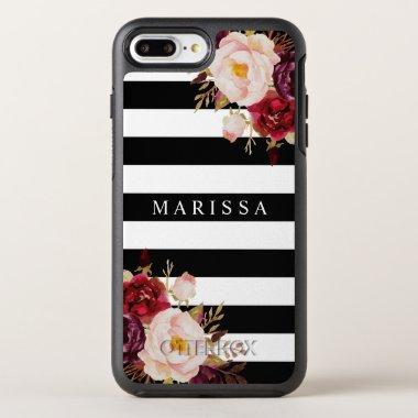 Burgundy Marsala Black White Pink Floral OtterBox Symmetry iPhone 8 Plus/7 Plus Case