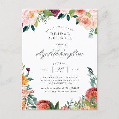 Burgundy Marsala Blush Pink Floral Bridal Shower Invitation PostInvitations