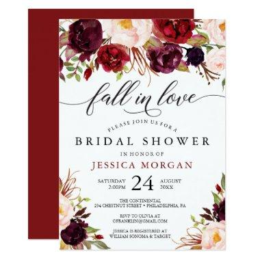 Burgundy Marsala Bridal Shower Invite Fall In Love