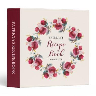 burgundy marsala floral bridal shower recipe book binder