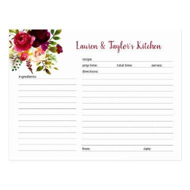Burgundy Marsala floral bridal shower recipe Invitations