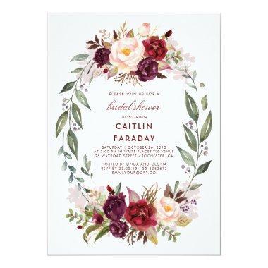 Burgundy - Marsala Floral Wreath