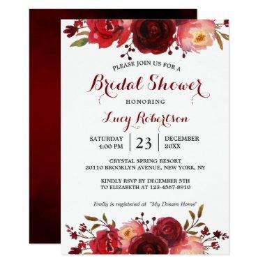Burgundy Marsala Red Roses Floral