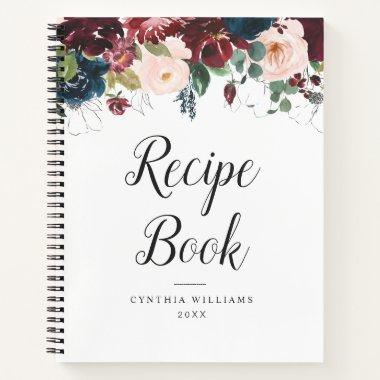 burgundy navy blue floral Recipe Book
