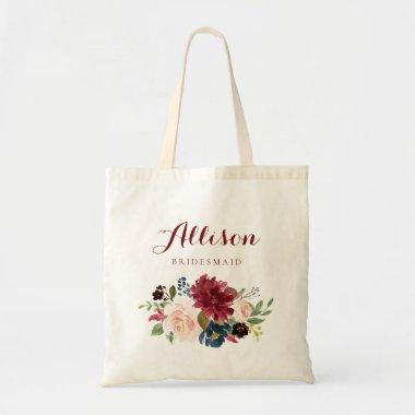 Burgundy Navy Floral bouquet bridesmaid Tote Bag