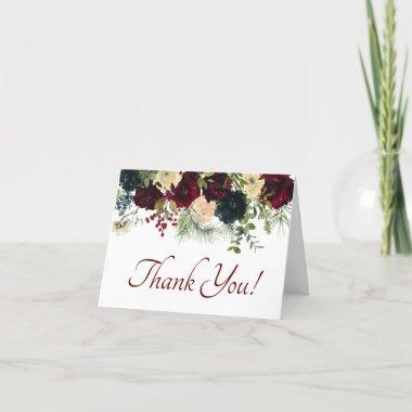 Burgundy, Navy Floral - Thank You Invitations