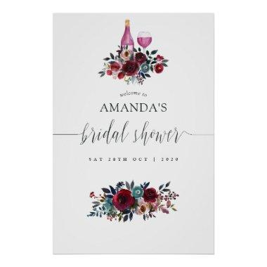 Burgundy & Navy Wine Tasting Bridal Shower Welcome Poster