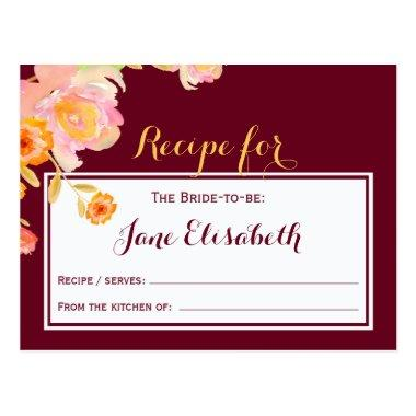 Burgundy peach floral bride to be recipe Invitations