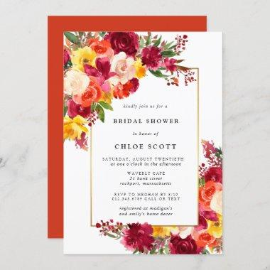 Burgundy Pink Orange Yellow Floral Bridal Shower Invitations