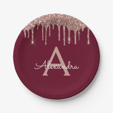 Burgundy Pink Rose Gold Glitter Monogram Birthday Paper Plate