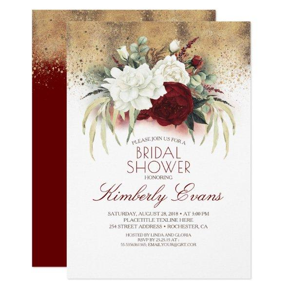 Burgundy Red and White Floral Fall Bridal Shower Invitations