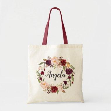 Burgundy Red Blush Floral Wreath Bridesmaid Tote Bag