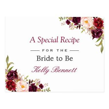 Burgundy Red Chic Floral Bridal Shower Recipe PostInvitations