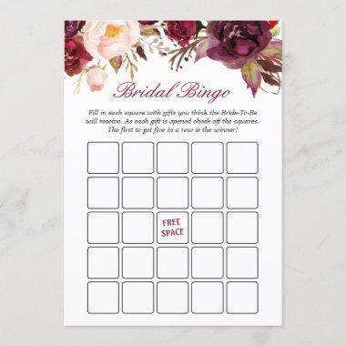 Burgundy Red Floral Bridal Shower Bingo Game