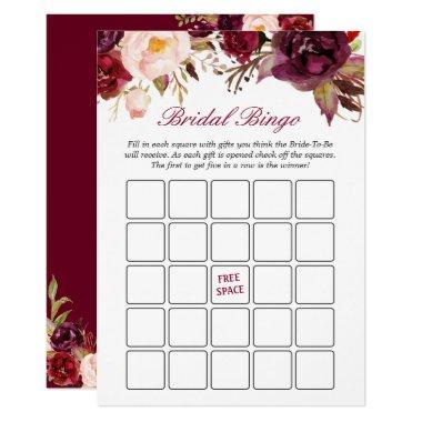Burgundy Red Floral  Bingo Game