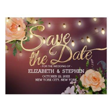 Burgundy Red Floral String Lights Save The Date Post