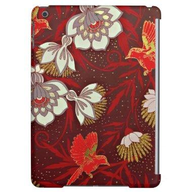 Burgundy Red Gold Bird Flowers Glitter Case For iPad Air