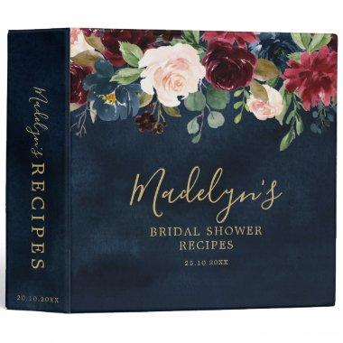 Burgundy Red Navy Blue Floral Bridal Shower Recipe 3 Ring Binder