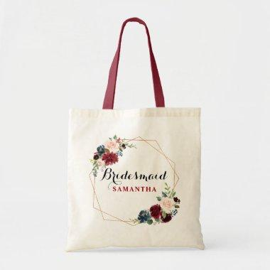 Burgundy Red watercolor Floral Bridesmaid gift Tote Bag
