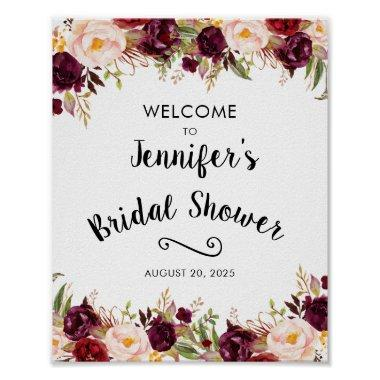 Burgundy Rustic Floral Bridal Shower Welcome Sign