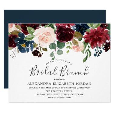 Burgundy Watercolor Flowers Fall Bridal Shower Invitations
