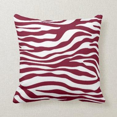 Burgundy Zebra Animal Print Throw Pillow