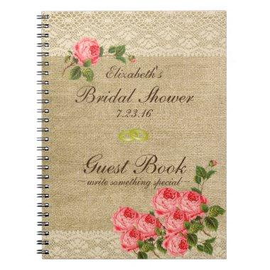 Burlap and Lace Print-  Guest Book- Notebook