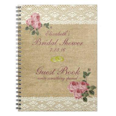 Burlap Image Pink Roses  Guest Book