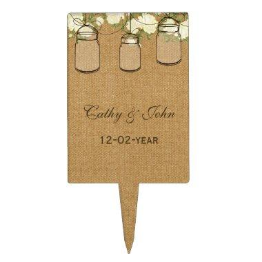 burlap ivory roses mason jar wedding cake picks
