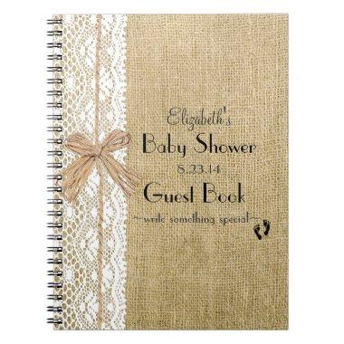 Burlap Lace and Raffia Image Rustic Guest Book